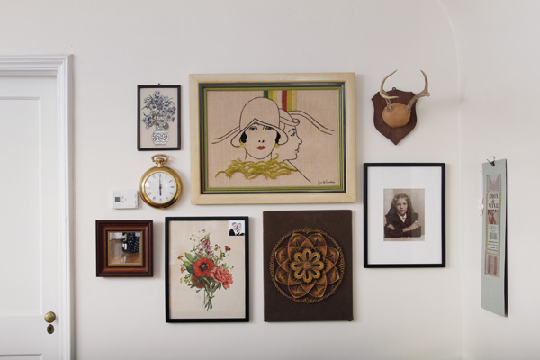 wall arrangement of vintage art