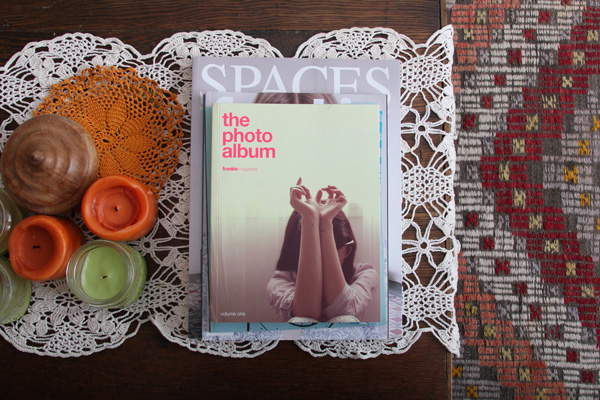 cofee table magazines on a DIY table and kilim rug