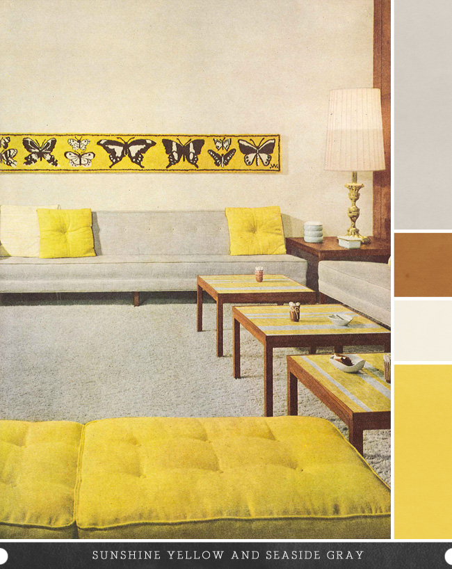 yellow vintage living room
